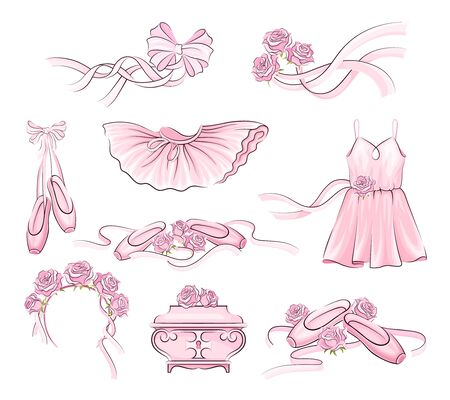 Ballet Accessories with Tutu Skirt and Pair of Pointe-shoes Vector Set. Tender Pink Attributes with Satin Ribbon for Dance Performing Ilustracje wektorowe