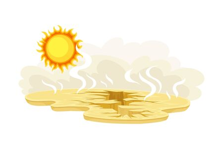 Arid Land and Drought as Natural Cataclysm Vector Illustration