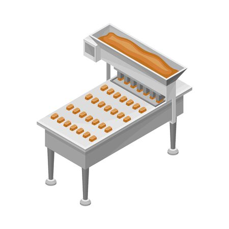 Conveyer Belt with Chocolate Sweets Formation Process Vector Illustration