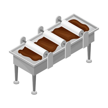 Conveyer Belt with Chocolate Bars Formation Process Vector Illustration. Chocolate Manufacturing and Equipment Concept