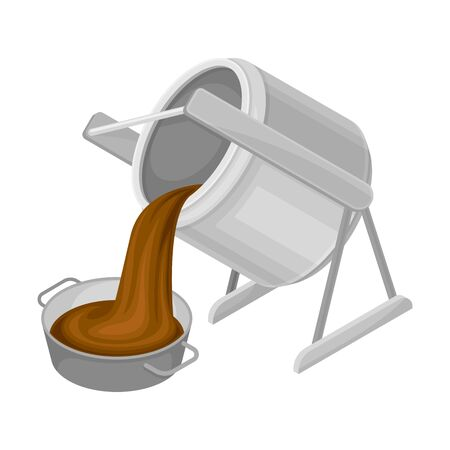 Steel Container with Chocolate Mass Pouring in Bowl Vector Illustration. Chocolate Manufacturing and Equipment Concept 일러스트