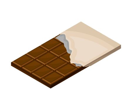 Bar of Chocolate in Sweetie Paper Vector Illustration. Dark Chocolate Production Concept