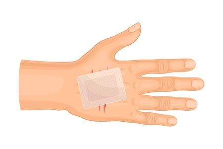 Hand Wound or Cut with Medical Patch Vector Illustration