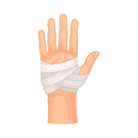 Bandaged Palm of the Hand Because of Injury or Wound Vector Illustration