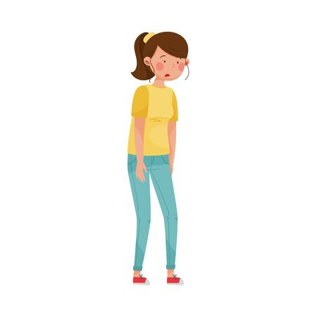 Female Character with Symptom of Diabetes Such as Fatigue Vector Illustration
