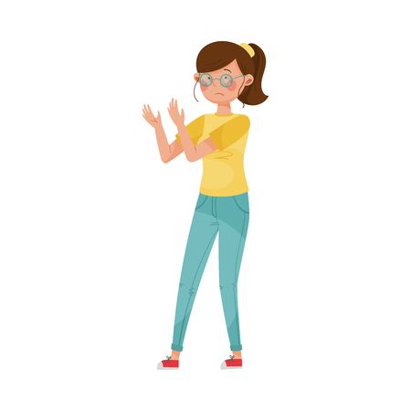 Woman Character Wearing Glasses Because of Having Blurred Vision as Symptom of Diabetes Vector Illustration