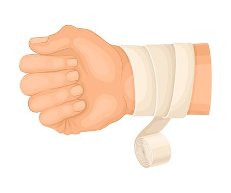 Bandaged Wrist Because of Injury or Wound Vector Illustration