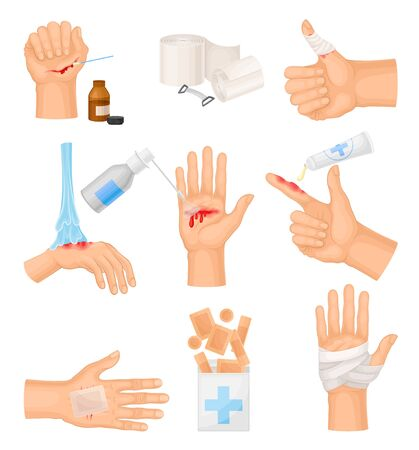 Hands with Injured Skin and Procedures of Bandaging and Wound Cleaning Vector Set
