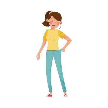 Woman Character Standing with Loose Fitting Jeans Vector Illustration. Patient with Sign of Sugar Disease as Fast Weight Loss Concept Çizim
