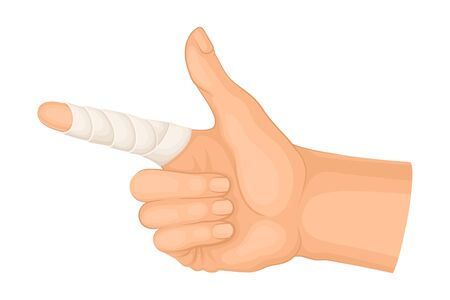 Bandaged Pointer Finger Because of Injury or Wound Vector Illustration