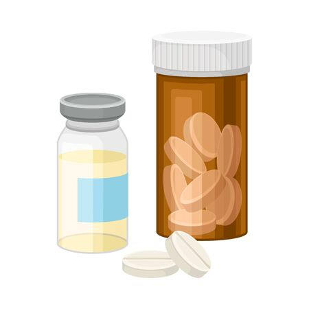 Bottles with Pills and Liquid as Pharmaceutical Drug or Medication Vector Illustration. Container with Medicines for Healthcare and Medical Treatment Ilustração