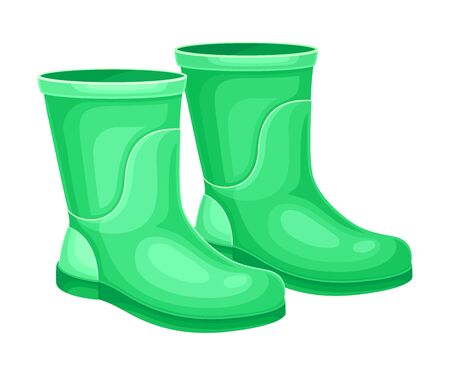 Rubber Garden Boots as Protective Uniform for Working in Yard Vector Illustration Zdjęcie Seryjne - 146774872