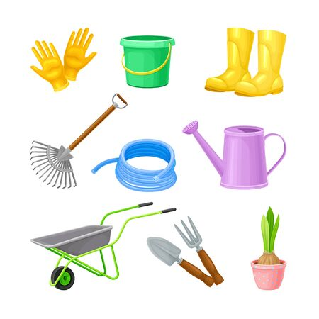 Garden Tools with Watering Can and Ironmongery Vector Set