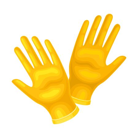 Yellow Rubber Garden Gloves as Protection Against Soil Vector Illustration Ilustracja