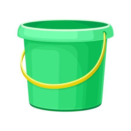 Green Plastic Empty Bucket as Garden Tool Vector Illustration