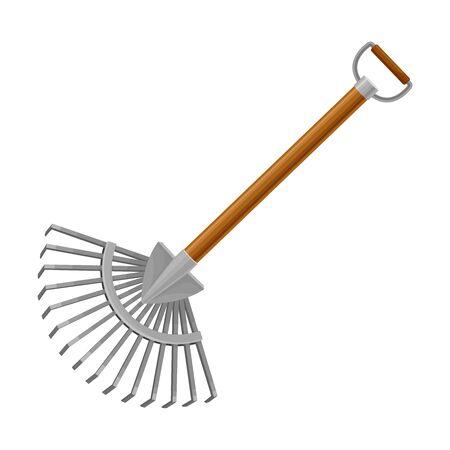 Hoe or Rake Garden Tool for Soil Cultivation Vector Illustration