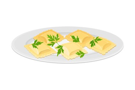 Italian Pasta with Shaped Alimentary Products Stuffed with Cream and Garnished with Parsley Vector Illustration