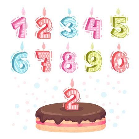 Birthday Number Candles as Festive Cake Decoration Element Vector Set Illustration