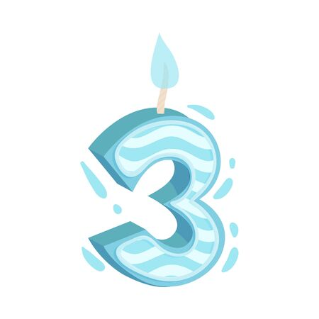 Birthday Number Candle as Festive Cake Decoration Element Vector Illustration