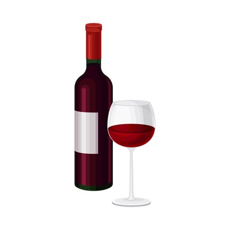 Bottle of Red Italian Wine with Full Glass Standing Nearby Vector Illustration