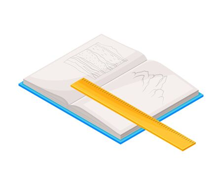 Open Notepad and Ruler as Geology Instrument for Drafting Vector Illustration