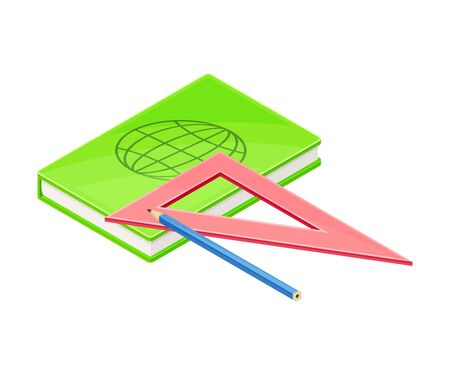 Notepad and Triangular Ruler as Geology Instrument for Drafting Vector Illustration