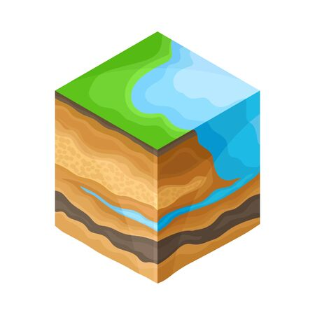 Soil Cross Section Showing Layers as Geology Sampler for Research Vector Illustration