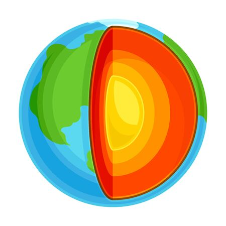 Earth Internal Structure Cross Section Showing Layers as Geology Sampler for Research Vector Illustration