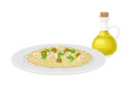 Rice with Mushrooms and Green Olives Served on Plate with Jar of Olive Oil Rested Nearby Vector Illustration