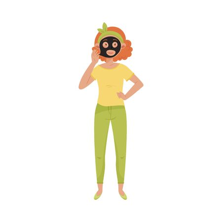 Short Haired Female Applying Cosmetic Mask on Her Face Vector Illustration