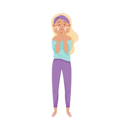 Blonde Young Woman Using Cosmetic Cleansing Gel or Facial Wash to Clean Her Face Vector Illustration 写真素材 - 146902269