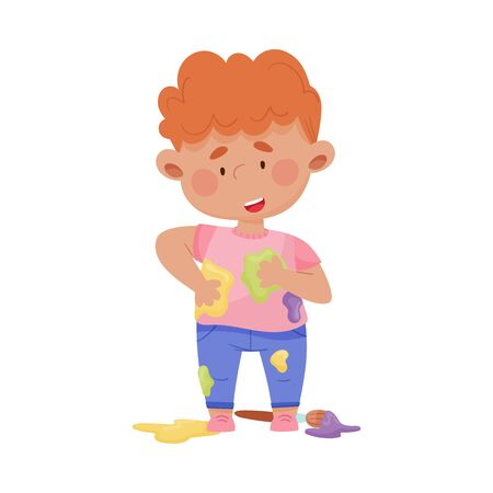 Smiling Boy Standing in Spotted Clothes Vector Illustration