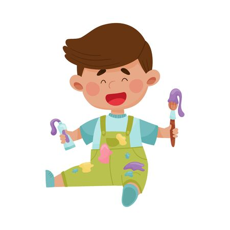 Playful Boy in Stained Clothes Sitting and Holding Paintbrush and Paint Vector Illustration Illustration