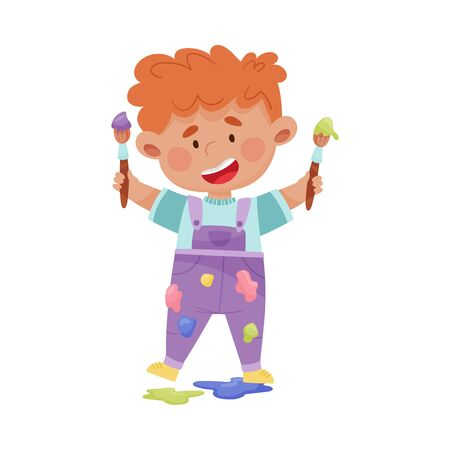 Cheerful Boy in Blotted Clothes Carrying Paintbrush and Paint Vector Illustration