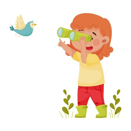 Cute Girl Holding Binoculars Exploring Flying Bird Vector Illustration