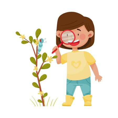 Girl Holding Magnifying Glass Exploring Environment Vector Illustration  イラスト・ベクター素材