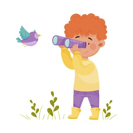 Cute Boy Holding Binoculars Exploring Flying Bird Vector Illustration