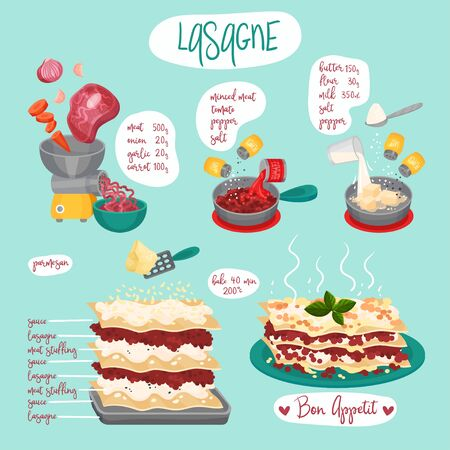 Lasagne Recipe with Step by Step Preparation Vector Illustration