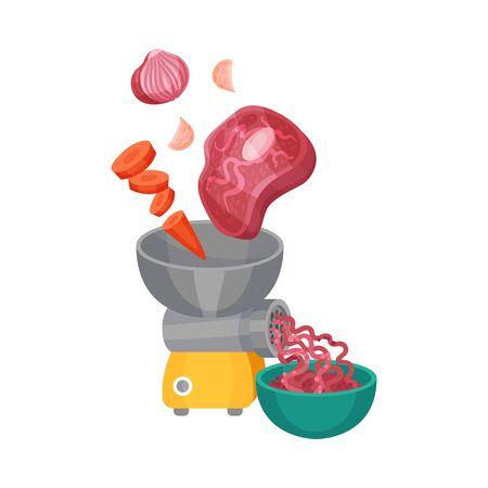 Meat and Vegetables Mincing for Lasagne Preparation Vector Illustration