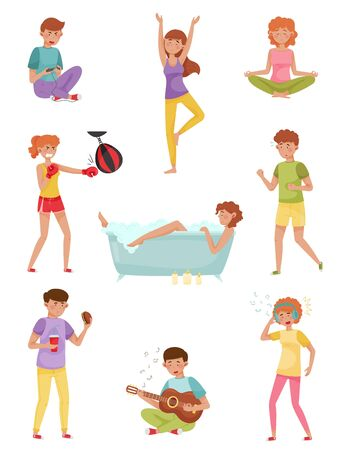 People Characters Reducing Stress by Different Activities like Playing Guitar and Listening to Music Vector Illustrations Set