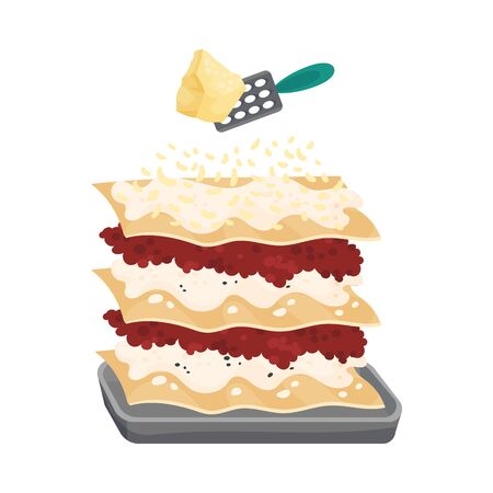 Grating Parmesan Cheese on Top of Raw Pasta Sheet with Meat Stuffing for Lasagne Preparation Vector Illustration  イラスト・ベクター素材