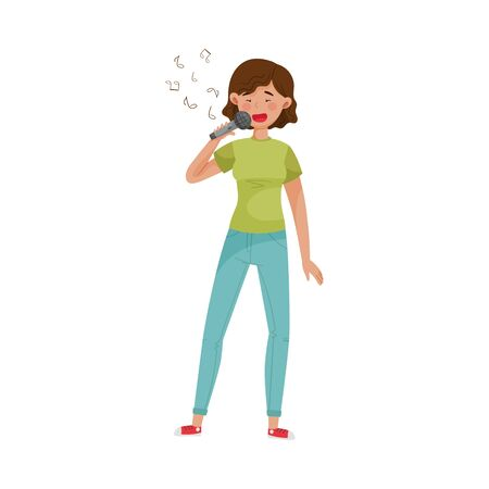Woman Character Singing Karaoke to Reduce Stress Vector Illustration