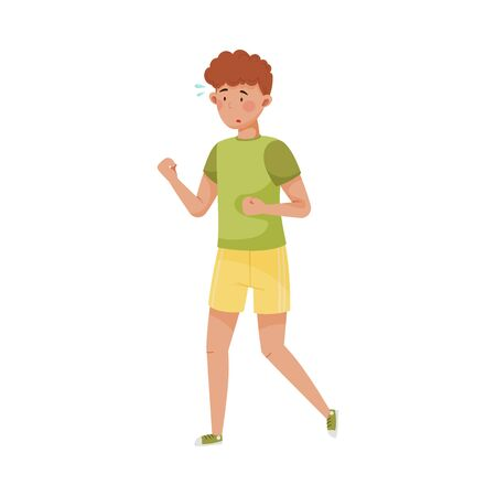 Young Man in Sportive Wear Running to Reduce Stress Vector Illustration Vectores