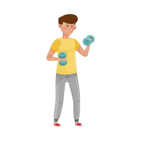 Dark Haired Guy Lifting Dumbbells to Reduce Stress Vector Illustration