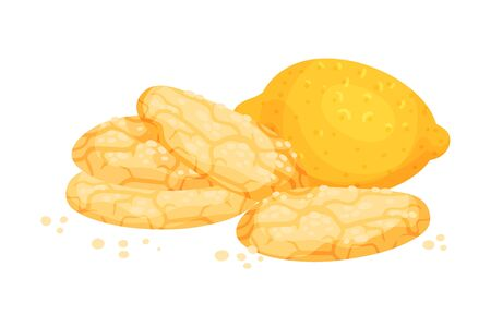 Crunchy Lemon Cookies with Lemon Fruit Rested Nearby Vector Illustration  イラスト・ベクター素材