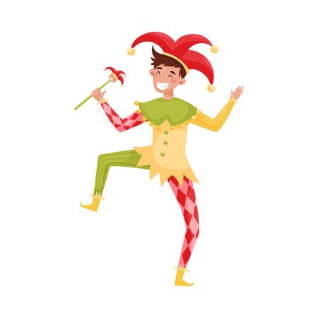 Medieval Jester Character in Bright Clownish Clothing Vector Illustration