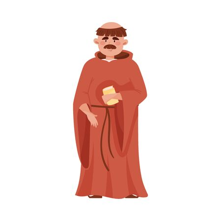 Priest or Monk Wearing Brown Hooded Gown Vector Illustration.