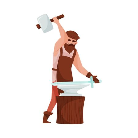 Bearded Blacksmith Forging Blade of Sword on the Anvil Vector Illustration. Medieval Male Character Engaged in Smithery