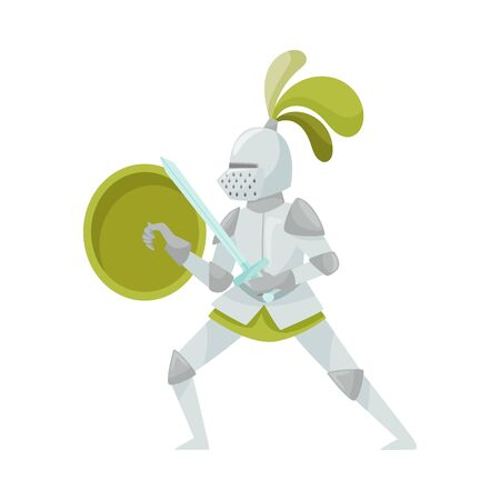Knight in Iron Armour Suit and Sharp Sword Vector Illustration. Medieval Man Character in Heavy Harness