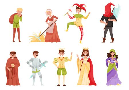 Medieval People Characters with Churchman and Peasant Working in the Field Vector Set